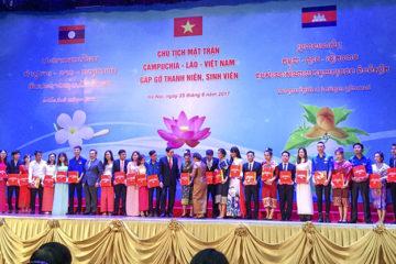 Sinh viên Lào của trường Hữu Nghị T78 hội nghị giao lưu, gặp gỡ thanh niên, sinh viên tiêu biểu của ba nước Việt Nam-Lào-Campuchia.